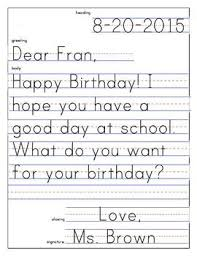 Friendly Letter Template And Example Kindergarten And First Grade