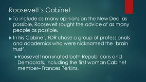 First Woman Cabinet Member Fdr And The New Deal Chapter 18 Roosevelt Takes Charge U Since