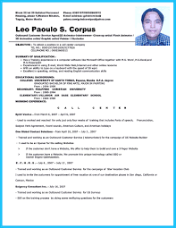 Sample Resume For A Call Center Agent Sample Resume For Call Center Job shalomhouseus 1