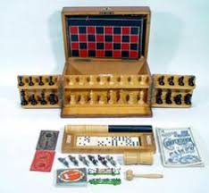 Wooden Games Compendium Victorian Oak Games Compendium late 100th century opening to 23