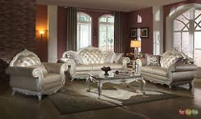 Image is loading Elegant-Metallic-Pearl-Button-Tufted-Leather-Formal-Living-