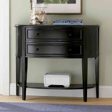 black hallway table. Mudroom : Stunning Antique Black Semi Circle Hallway Table Charming Half Moon Profile Two Wide Drawers Offer Plenty Of Storage Room Decorative Drawer Knobs 4