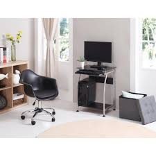 hodedah black glass laptop desk with pull out keyboard tray