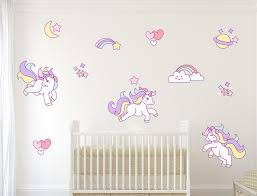 unicorns rainbows stars and hearts wall decal sticker set girls bedroom wall decals