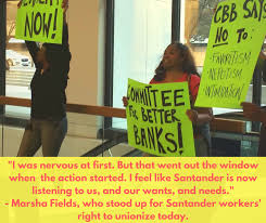 santander bank jobs announcing a union for bank workers solidarity at santander