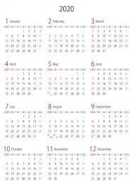 A4縦2020年令和2年1月12月の年間カレンダー02 イラスト無料