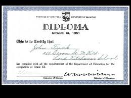 john pritchard school 1951 grade 9 diploma