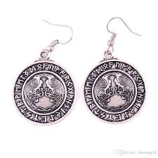 2019 best viking jewelry uni earrings crow raven and ancient runes personality design gift choose zinc alloy dropshipping from herong68