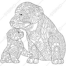 Small Picture Cat and Dog Adult Coloring Page Zentangle by ColoringPageExpress