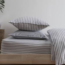 ticking stripe blue grey pillowcase