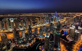 Wallpaper Dubai Night Lights Skyscrapers City 1920x1200