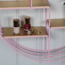 pink gold wire metal wall shelf