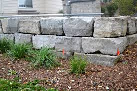 large armour stone retaining wall