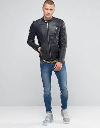 replay leather biker jacket in worn black men replay jeans replay