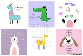 Set Of Different Cute Postcards With Inscriptions With Lama Dog
