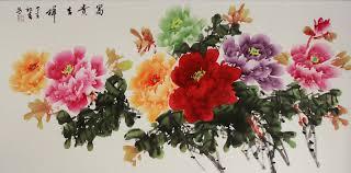 large peony flower painting