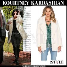 kourtney kardashian in cream fluffy faux fur tularosa violet jacket and black leather rta ryder pants