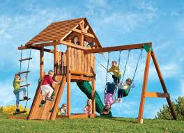 kids creation redwood circus 3 swing set