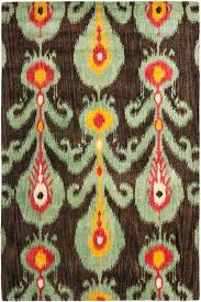 oriental brown and green ikat rug for vintage traditional floor