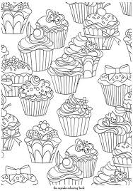 Cupcakes Pattern Free Printable Adult Coloring Pages Coloring