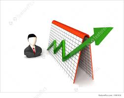 Finance And Currency Three Dimensional Isolated Businessman And Profit Graph