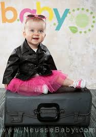 leather jacket pink tutu 10 months old baby girl portrait session