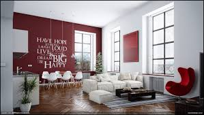 Casual Modern Living Rooms With Contemporary Minimalist Appearance : Red  White Living Room Wall Decal