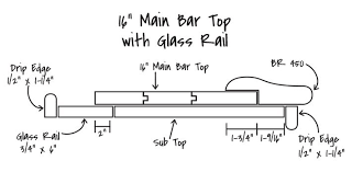 16 inch bar top with glass rail