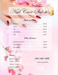 8 Free Sample Nail Services Salon Price List Templates - Printable ...