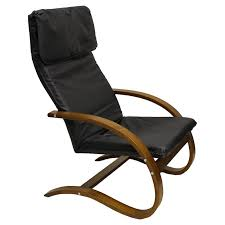 Comfortable High Back Leather Rocking Chair With Unique Wooden