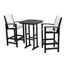 coastal black all weather plastic outdoor bar set in white slings