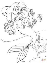 mermaid for coloring. Ariel And Seahorses For Mermaid Coloring
