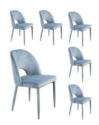 6x Lc Home Esszimmerstuhl Polsterstuhl Design Stuhl Samt Blau