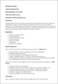 Resume For Customs And Border Protection Officer Professional Cbp Officer Templates To Showcase Your Talent