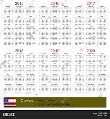 Editable 2015 2020 Calendar Calendar 2015 2020 Vector Photo Free Trial Bigstock