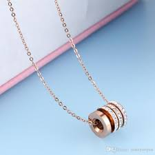 whole 18k rose gold pendant necklace crystal 316l stainless steel fashion jewelry gifts for women silver necklace silver bracelets from tastepanpan