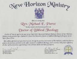 My Credentials Rev Dr Michael Pierce