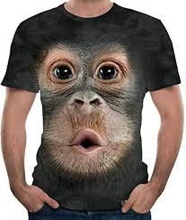 Mens Funny 3D Big Gorilla Print O-Neck Short Sleeve ... - Amazon.com