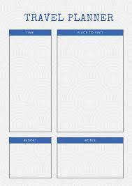 Free Travel Planner Printable Travel Planners Carrentalia