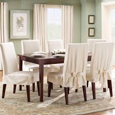 furniture awesome dining room with rectangle brown wood dining table and white fit cotton dining chair cover also large brown fabric rug dining room