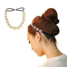 Lady Girl <b>Fashion</b> Sweet Metal <b>Hollow Rose Flower</b> Elastic Hair ...