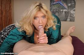 Over 40 Handjobs Blonde busty milf Tahnee stroking big cock of.