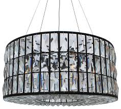the monroe round crystal drum chandelier black finish