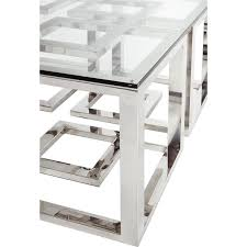 mercer stainless steel silver square glass coffee table kathy modern and 18
