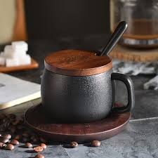 <b>250ML Creative</b> Black Matte Coarse <b>Pottery Coffee Cup</b> with ...