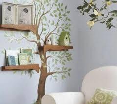 Tree bookshelf with floating shelves