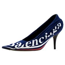 balenciaga blue fabric and leather knife logo pointed toe pumps size 36 for