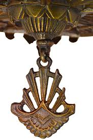 vintage hardware lighting antique art deco chandeliers 1930s slip shade ceiling lights pair