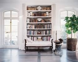 ... Exciting Geometric Bookcase Contemporary Bookshelf An Upholstered Bench  In Front Of A Built In ...