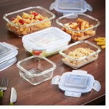glass food storage container 5pc set with lids dishwasher freezer microwave safe